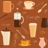 Безшовная картина с элементами кофе родственными Стоковая Фотография RF