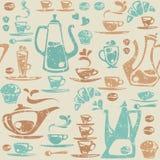 Безшовная картина с элементами кофе. Стоковое Изображение RF