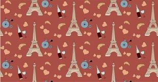 Безшовная картина с элементами Парижа, бутылка Эйфелевой башни сердца вина и велосипед Стоковая Фотография RF