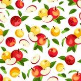 Безшовная картина с яблоками и листьями также вектор иллюстрации притяжки corel Стоковые Фото
