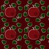 Безшовная картина с яблоками и листьями Стоковое Изображение