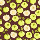 Безшовная картина с яблоками Иллюстрация штока