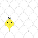 Безшовная картина с яичками и цыпленком Стоковое Фото