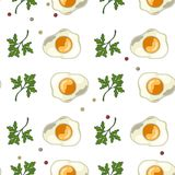 Безшовная картина с яичницами с петрушкой и перцем иллюстрация штока