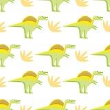 Безшовная картина с яркими динозаврами иллюстрация штока