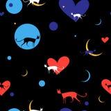 Безшовная картина с яркими котами Стоковая Фотография