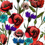 Безшовная картина с яркими красочными цветками Иллюстрация вектора