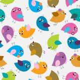 Безшовная картина с яркими милыми птицами иллюстрация вектора