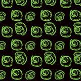Безшовная картина с яркими ыми-зелен розами на черной предпосылке иллюстрация штока