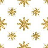 Безшовная картина с ярким блеском золота текстурировала звезды на белой предпосылке Стоковое фото RF