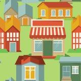 Безшовная картина с домами шаржа Стоковое Изображение RF