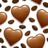 Безшовная картина с bonbon сердца шоколада и кофейными зернами Стоковая Фотография RF