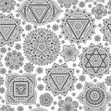 Безшовная картина с 7 chakras Восточные орнаменты для татуировки хны и для вашего дизайна Элементы буддизма декоративные вектор Стоковое Изображение RF