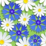 Безшовная картина с cornflower и стоцветом иллюстрация штока
