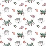 Безшовная картина с crustaceans Стоковое Фото