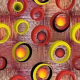 Безшовная картина с 3d звенит на предпосылке grunge striped и checkered красочной Стоковое Изображение