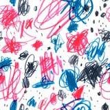 Безшовная картина с doodles нарисованными карандашем Стоковые Фото