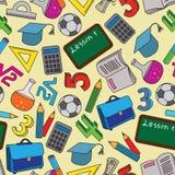 Безшовная картина с doodles школы Стоковая Фотография RF