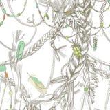 Безшовная картина с girlish оплетками, волосами, ветром и пер иллюстрация вектора