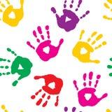 Безшовная картина с handprints Стоковая Фотография