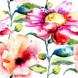 Безшовная картина с Ipomea цветет иллюстрация Стоковая Фотография RF