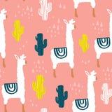 Безшовная картина с lamma, кактусом и нарисованными рукой элементами Ребяческая текстура Большой для ткани, иллюстрации вектора т бесплатная иллюстрация