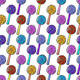 Безшовная картина с Lollypops Стоковая Фотография