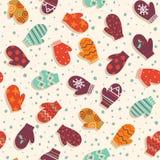 Безшовная картина с mittens и снегом Стоковые Изображения RF