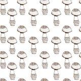 Безшовная картина с monochrome грибами Стоковые Изображения RF