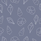 Безшовная картина с seashells на серой предпосылке Стоковая Фотография