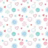 Безшовная картина с smileys, цветки младенца Стоковая Фотография