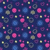 Безшовная картина с smileys, цветки младенца Стоковое Изображение RF