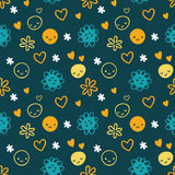 Безшовная картина с smileys, цветки младенца Стоковые Изображения