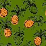 Безшовная картина с stilized ананасами Стоковая Фотография RF