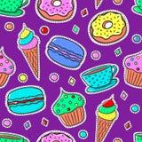 Безшовная картина с Sweets-02 Стоковое Изображение