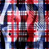 Безшовная картина тартана с предпосылкой черноты влияния акварели Стоковые Изображения