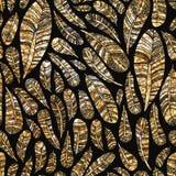Безшовная картина текстуры золотых пер Стоковое Изображение RF