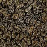 Безшовная картина текстуры золотых пер Стоковые Изображения RF