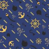 Безшовная картина темы пирата, предпосылка Стоковые Фото