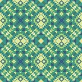 Безшовная картина ткани мексиканск-стиля этнической в зеленых цветах иллюстрация вектора
