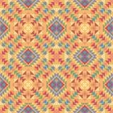 Безшовная картина ткани мексиканск-стиля этнической в оранжевых цветах иллюстрация штока