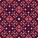 Безшовная картина ткани мексиканск-стиля этнической в фиолетовых цветах иллюстрация штока