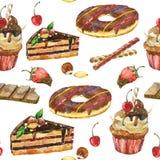 Безшовная картина тортов Стоковая Фотография RF