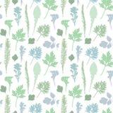 Безшовная картина травы и листьев Стоковое Изображение RF