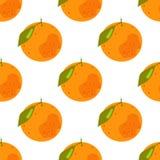 Безшовная картина тропических цитрусовых фруктов иллюстрация вектора