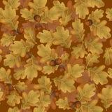 Безшовная картина дуба осени выходит с коричневыми жолудями Стоковое Фото
