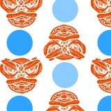 Безшовная картина фарфора с голубым кругом Стоковое Изображение