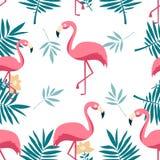 Безшовная картина фламинго, monstera листьев, тропических листьев пальмы Предпосылка вектора иллюстрация штока