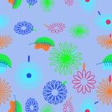 Безшовная картина флористического мотива, цветки, листья, doodles Стоковые Изображения
