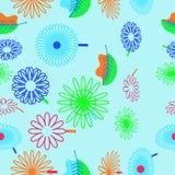Безшовная картина флористического мотива, цветки, листья, doodles стоковые изображения rf